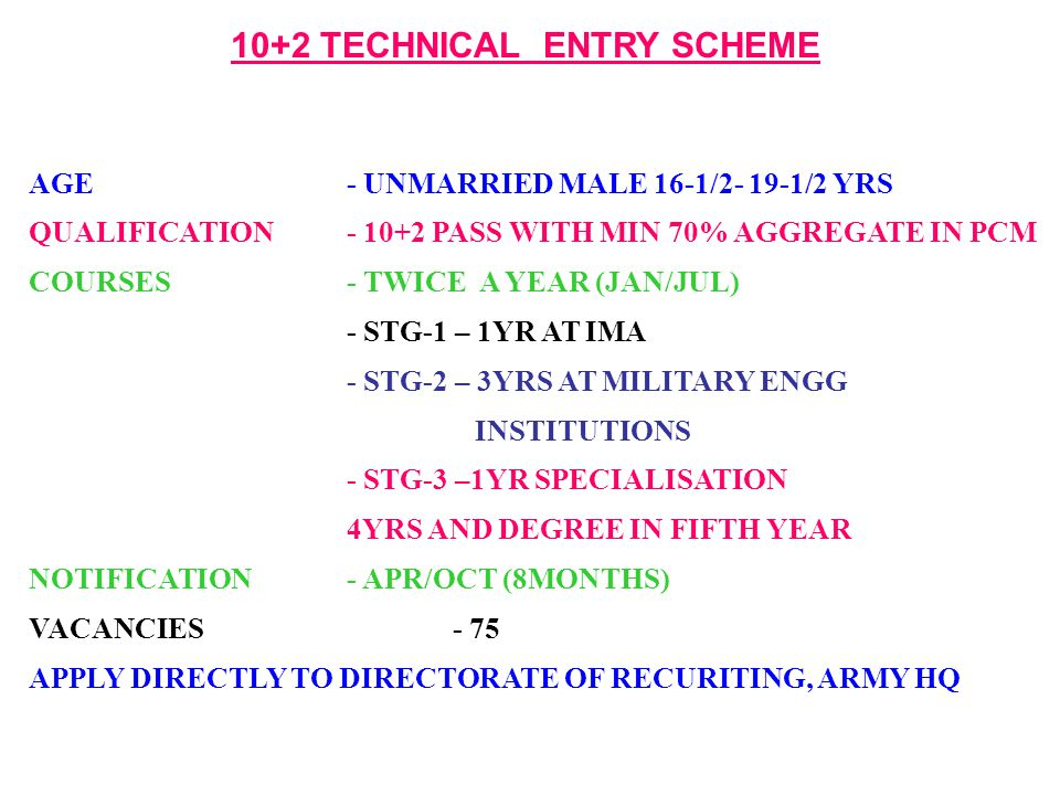 10+2 TECHNICAL ENTRY SCHEME AGE- UNMARRIED MALE 16-1/2- 19-1/2 YRS QUALIFICATION- 10+2 PASS WITH MIN 70% AGGREGATE IN PCM COURSES- TWICE A YEAR (JAN/J