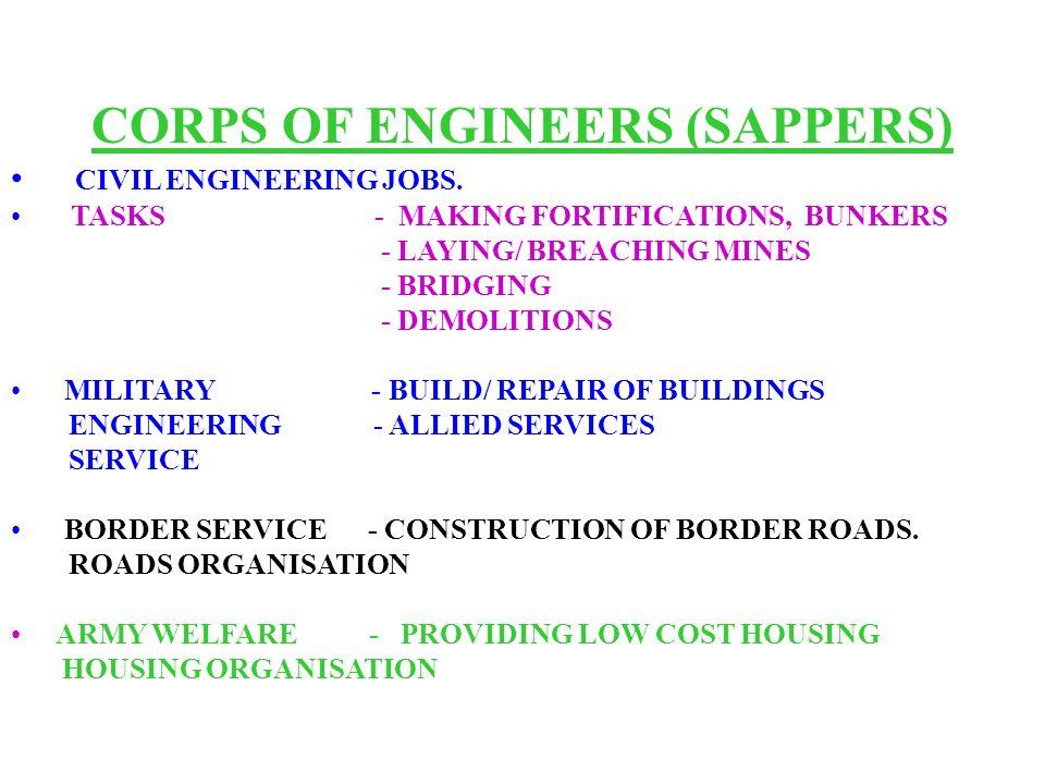 CORPS OF ENGINEERS (SAPPERS) CIVIL ENGINEERING JOBS.