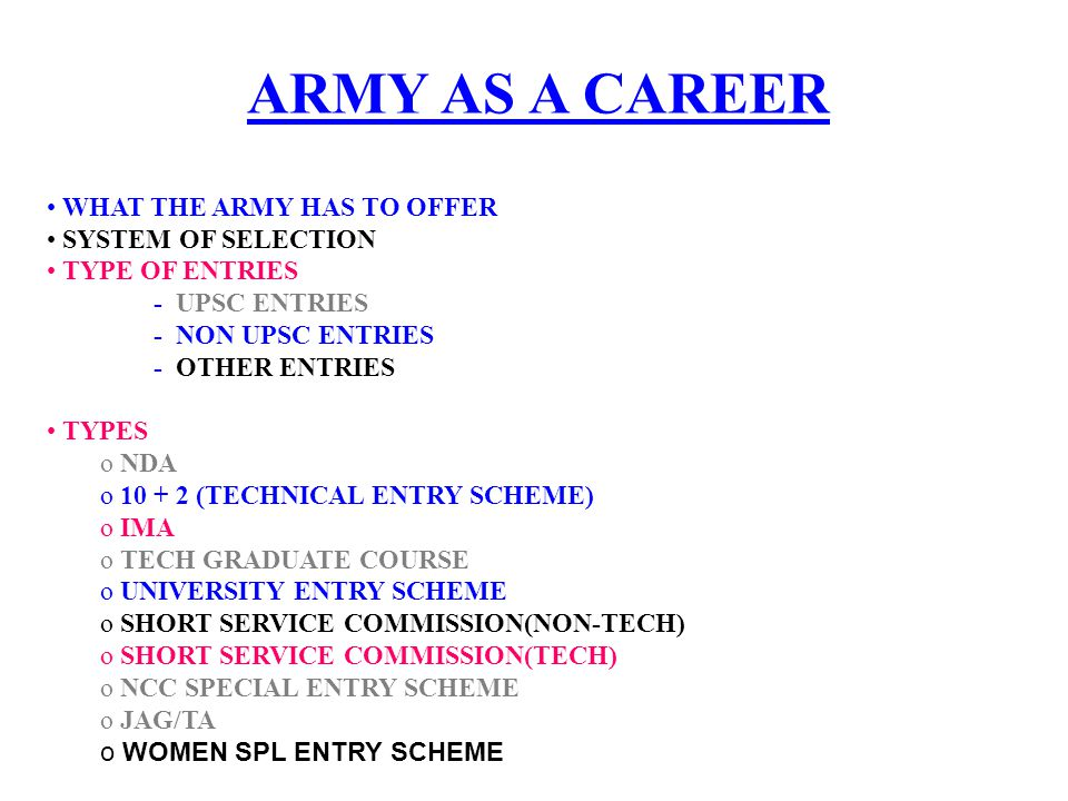 UPSC ENTRIES ------------------------------------------------------------------------------------- TYPES OF COURSE AGE QUALI MODE OF PUBLISHING ENTRY STARTS (YRS) FICATIONSELECTION OF ADVT ----------------------------------------------------------------------------------------------------------------- NDA JAN/JUL 161/2-19 10+2WRITTEN EXAM MAR/APR & BY UPSC /SSB OCT & NOV CDSE JAN/JUL 19-24 DEGREECDSE BY -DO- UPSC/SSB SSC(NT) APR-OCT 19-25 DEGREE CDSE BY MAR/APR & UPSC/SSB SEP/OCT