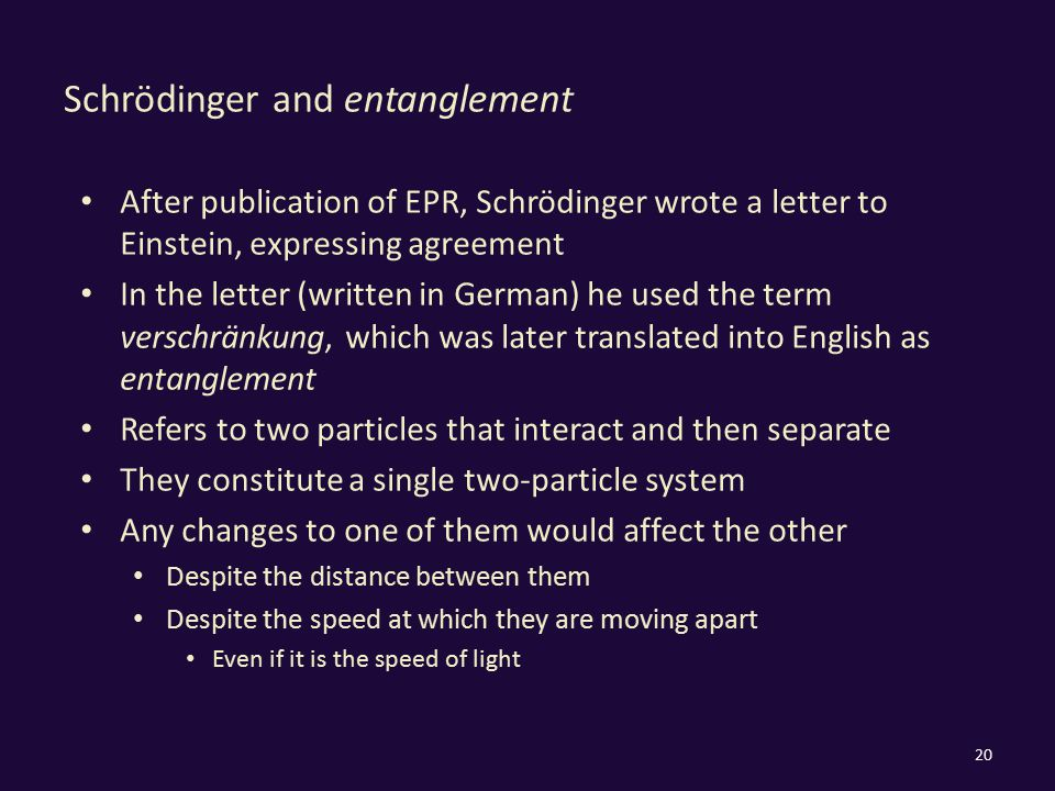 Schrödinger and entanglement After publication of EPR, Schrödinger wrote a letter to Einstein, expressing agreement In the letter (written in German)