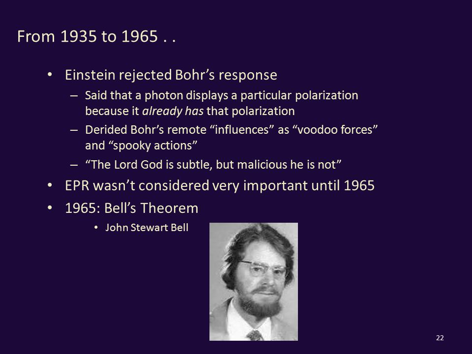 From 1935 to 1965.. Einstein rejected Bohr's response – Said that a photon displays a particular polarization because it already has that polarization