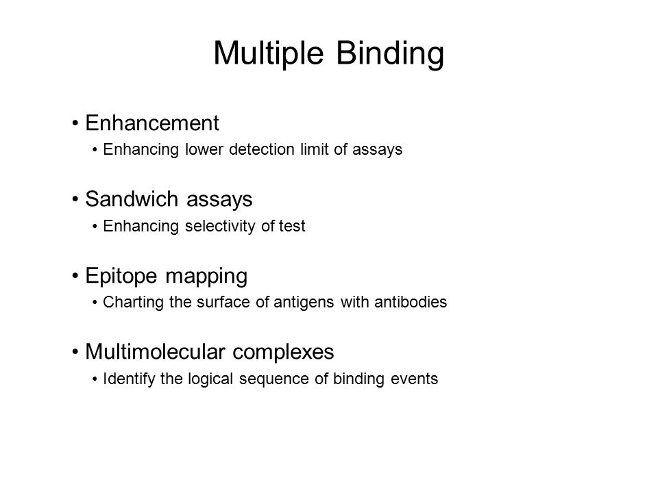 Multiple Binding Enhancement Enhancing lower detection limit of assays Sandwich assays Enhancing selectivity of test Epitope mapping Charting the surf