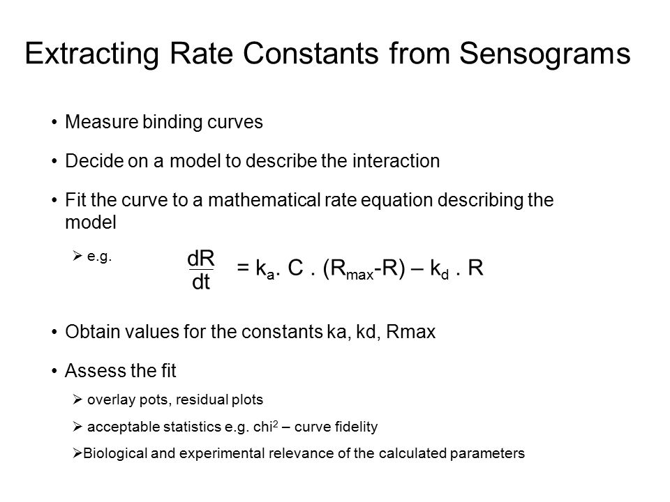 Extracting Rate Constants from Sensograms Measure binding curves Decide on a model to describe the interaction Fit the curve to a mathematical rate eq