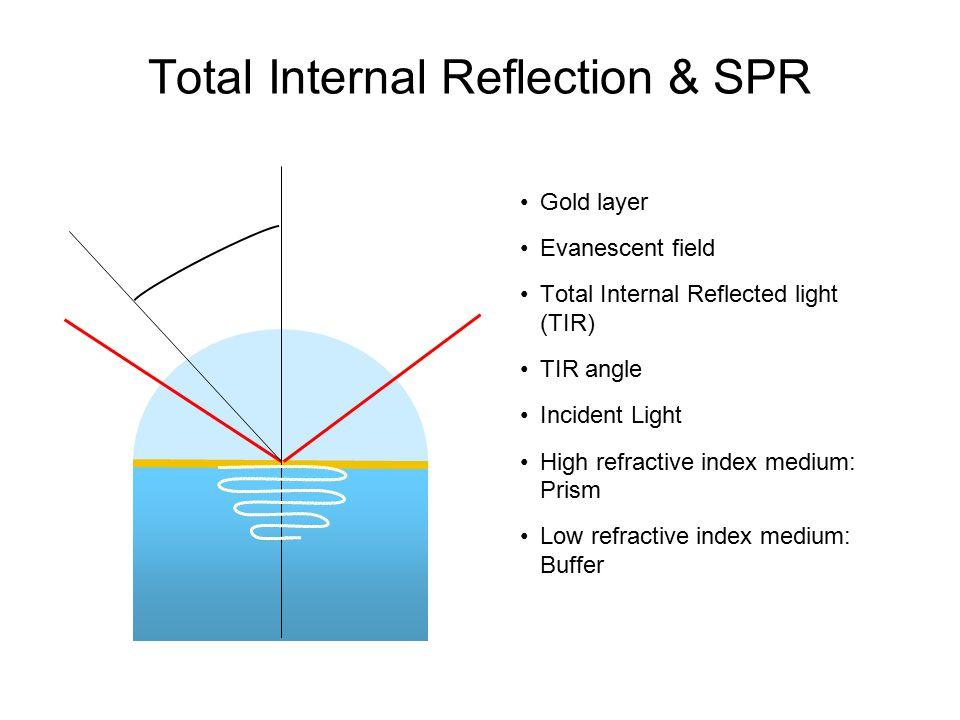 Total Internal Reflection & SPR Gold layer Evanescent field Total Internal Reflected light (TIR) TIR angle Incident Light High refractive index medium