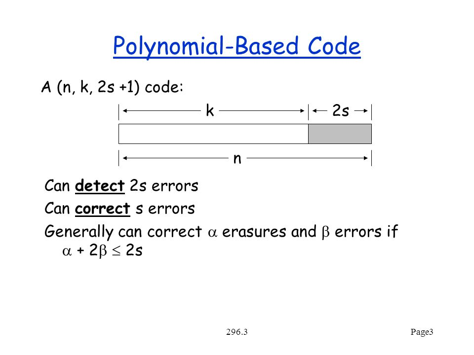 296.3Page3 Polynomial-Based Code A (n, k, 2s +1) code: k2s Can detect 2s errors Can correct s errors Generally can correct  erasures and  errors if  + 2   2s n