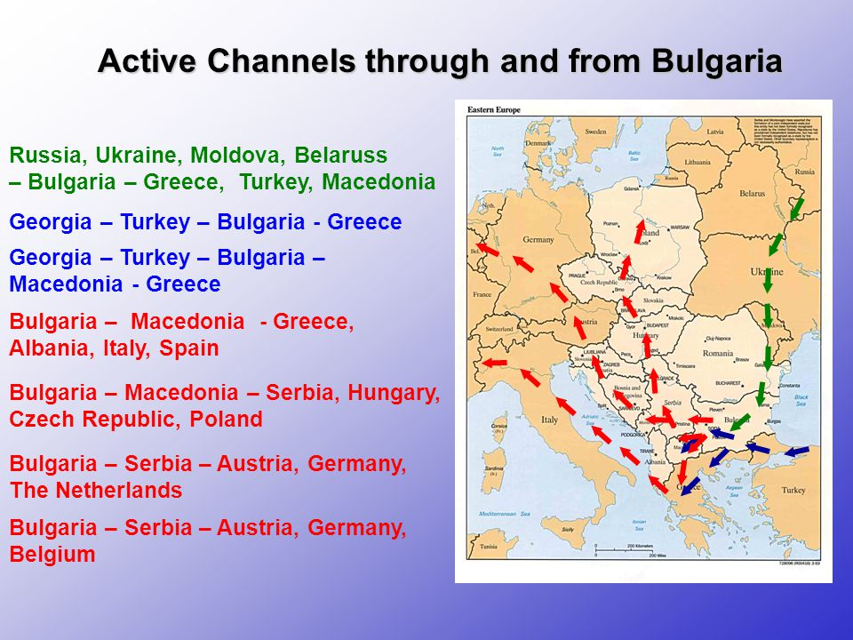 Active Channels through and from Bulgaria Russia, Ukraine, Moldova, Belaruss – Bulgaria – Greece, Turkey, Macedonia Bulgaria – Macedonia - Greece, Albania, Italy, Spain Bulgaria – Macedonia – Serbia, Hungary, Czech Republic, Poland Bulgaria – Serbia – Austria, Germany, The Netherlands Bulgaria – Serbia – Austria, Germany, Belgium Georgia – Turkey – Bulgaria - Greece Georgia – Turkey – Bulgaria – Macedonia - Greece