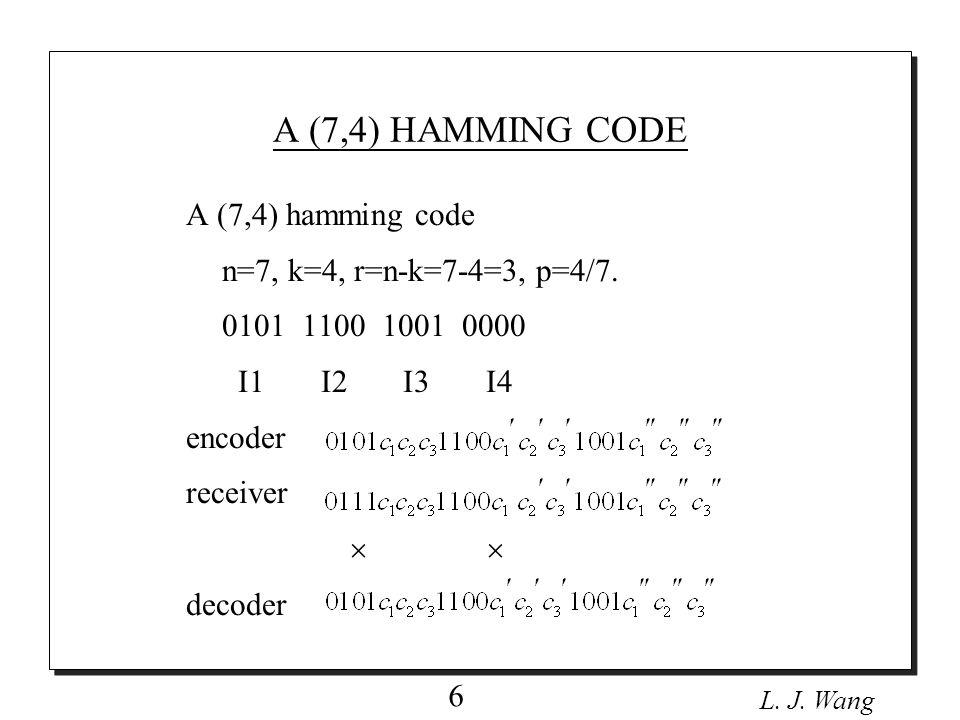 L. J. Wang 6 A (7,4) hamming code n=7, k=4, r=n-k=7-4=3, p=4/7.