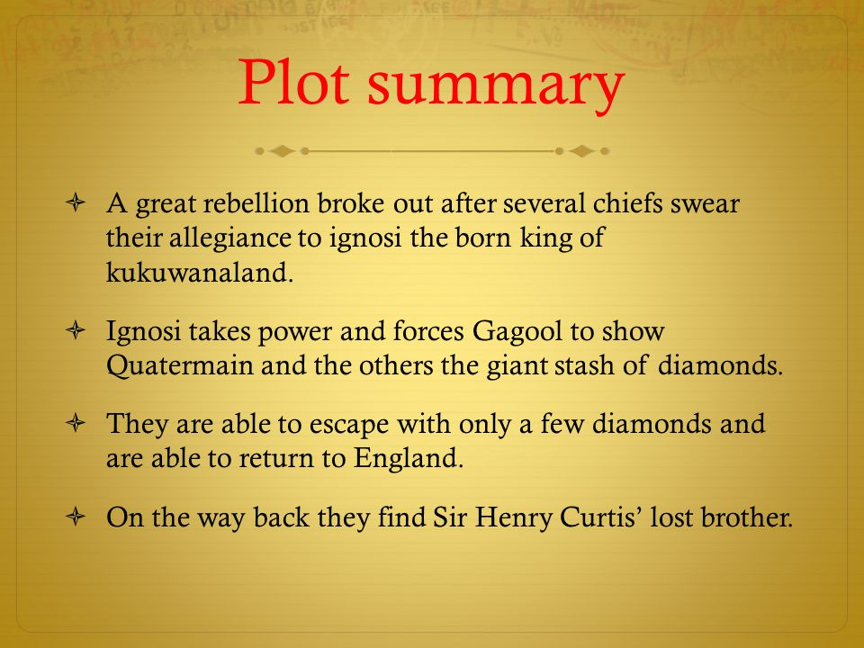 Plot summary  A great rebellion broke out after several chiefs swear their allegiance to ignosi the born king of kukuwanaland.