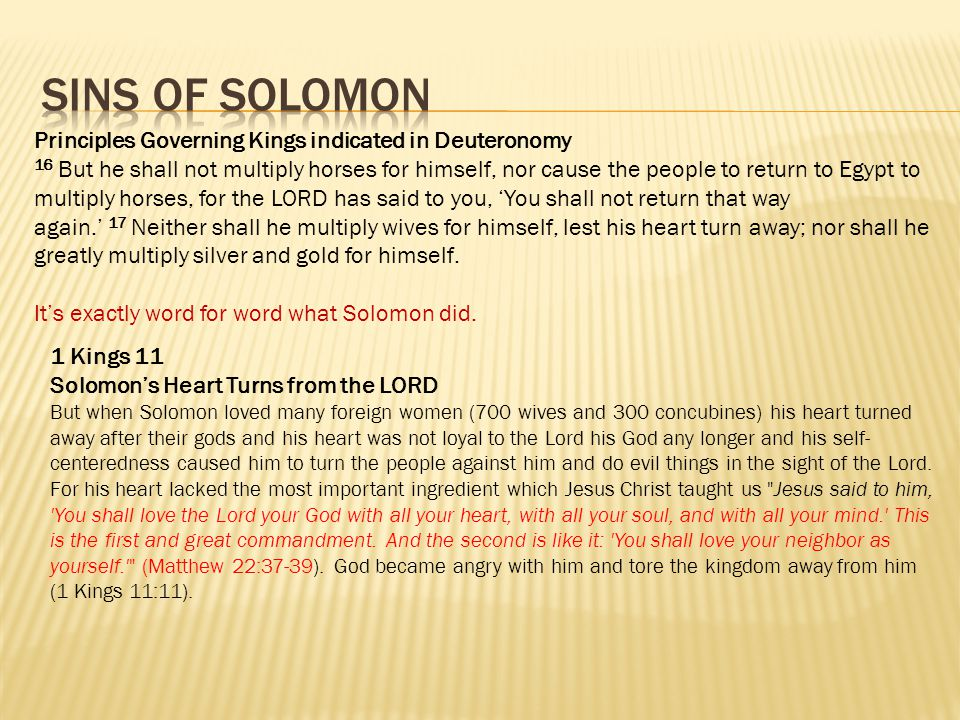 Principles Governing Kings indicated in Deuteronomy 16 But he shall not multiply horses for himself, nor cause the people to return to Egypt to multip