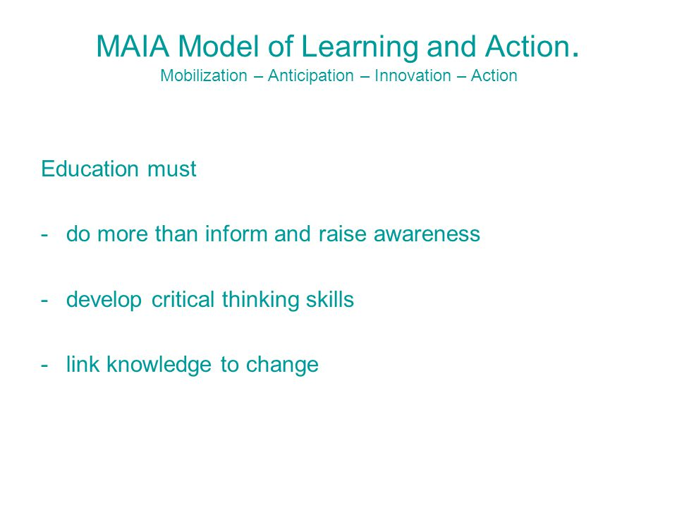 MAIA Model of Learning and Action.