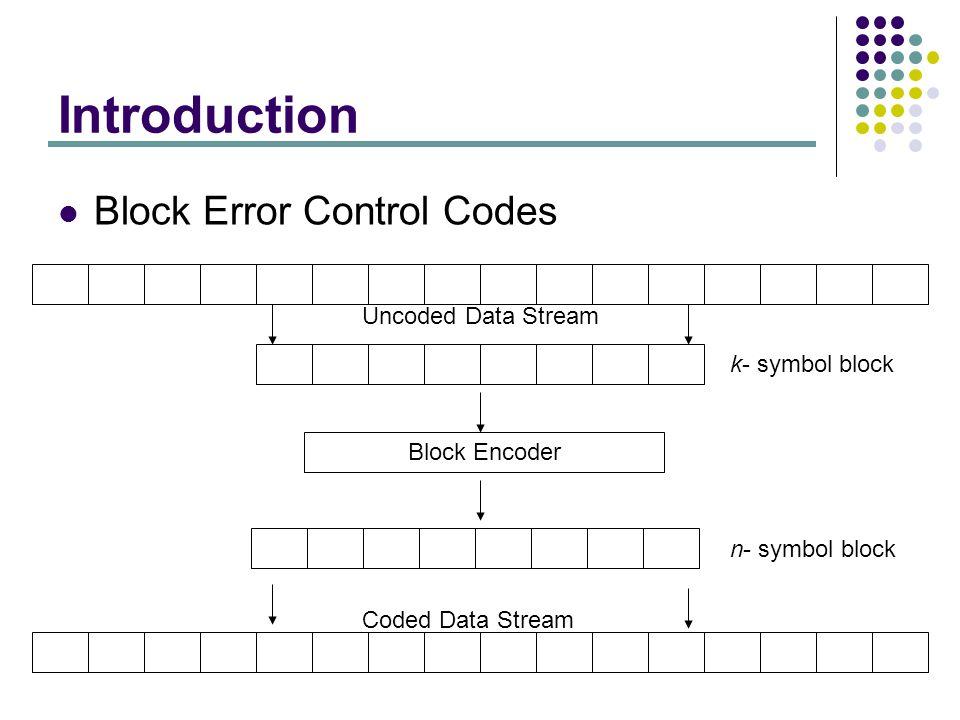 Introduction Block Error Control Codes Block Encoder k- symbol block n- symbol block Uncoded Data Stream Coded Data Stream