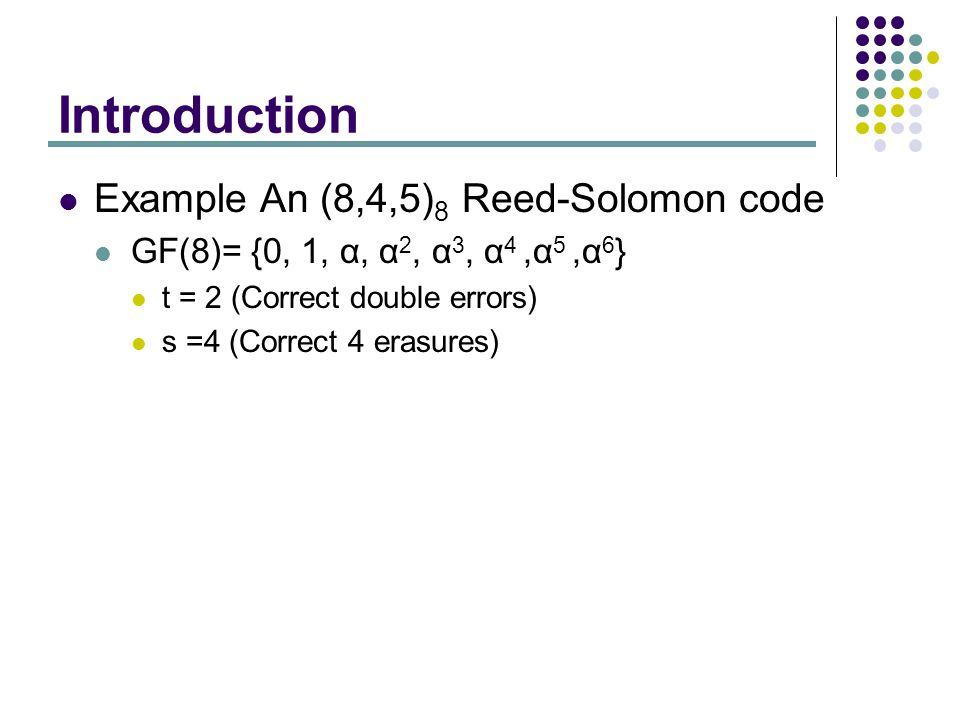 Introduction Example An (8,4,5) 8 Reed-Solomon code GF(8)= {0, 1, α, α 2, α 3, α 4,α 5,α 6 } t = 2 (Correct double errors) s =4 (Correct 4 erasures)