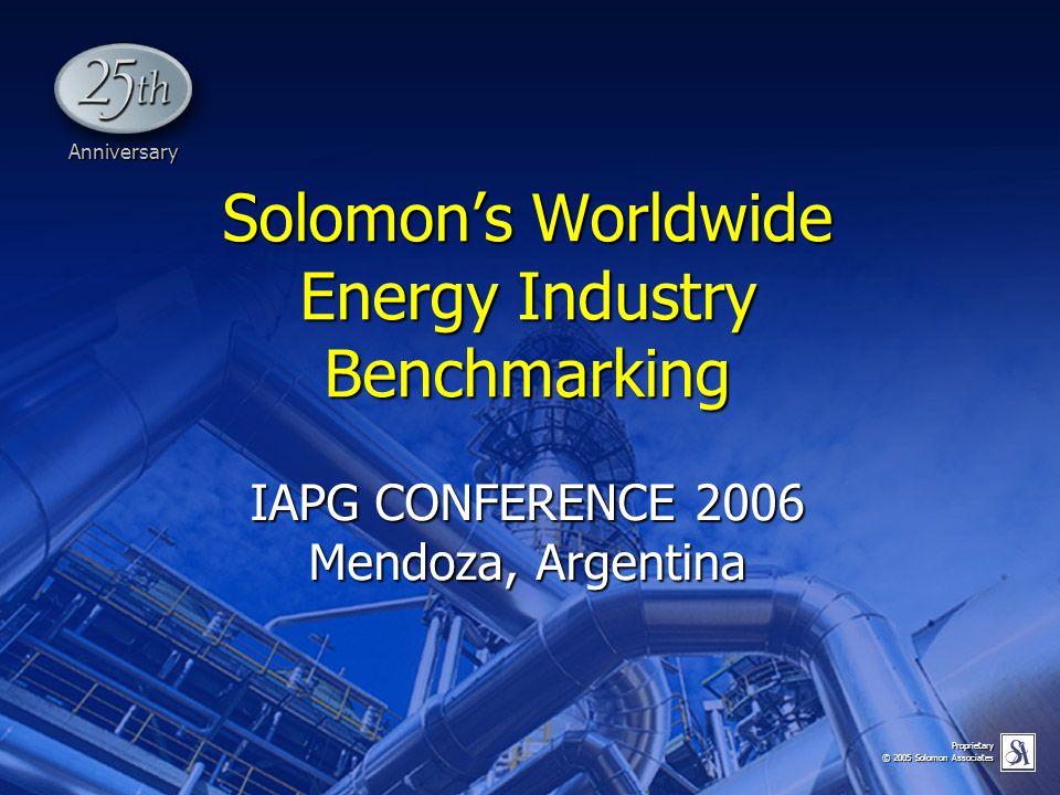 Proprietary © 2005 Solomon Associates Solomon's Worldwide Energy Industry Benchmarking IAPG CONFERENCE 2006 Mendoza, Argentina Anniversary