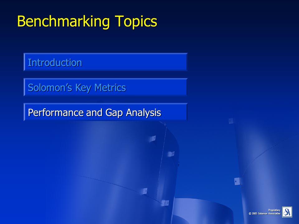Proprietary © 2005 Solomon Associates Benchmarking Topics Introduction Performance and Gap Analysis Solomon's Key Metrics