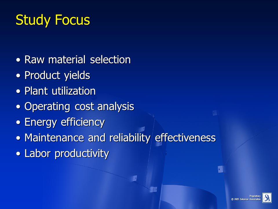 Proprietary © 2005 Solomon Associates Study Focus Raw material selectionRaw material selection Product yieldsProduct yields Plant utilizationPlant uti