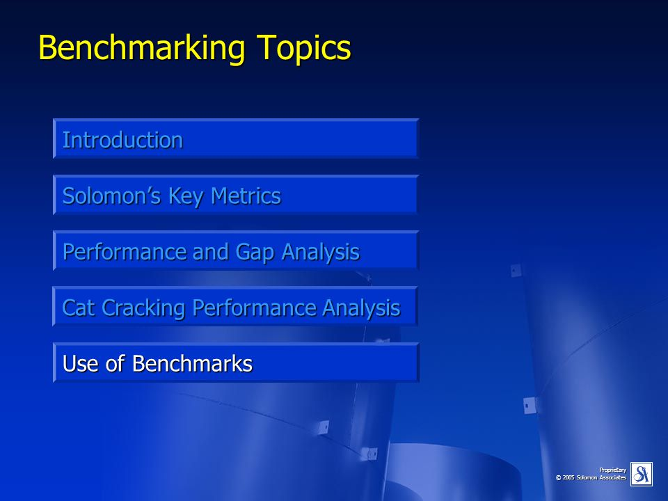 Proprietary © 2005 Solomon Associates Benchmarking Topics Introduction Performance and Gap Analysis Solomon's Key Metrics Use of Benchmarks Cat Cracki