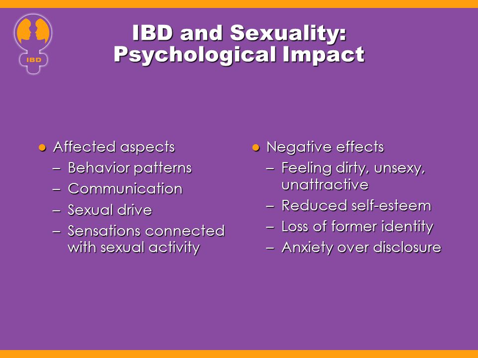 IBD and Sexuality: Psychological Impact Affected aspects Affected aspects –Behavior patterns –Communication –Sexual drive –Sensations connected with s