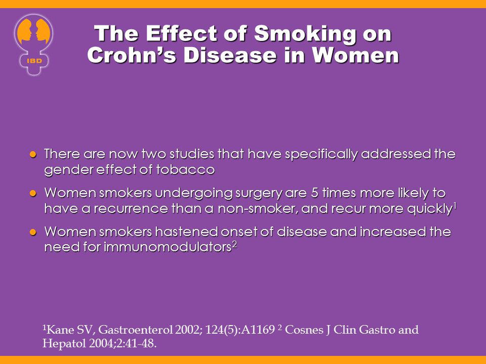 The Effect of Smoking on Crohn's Disease in Women There are now two studies that have specifically addressed the gender effect of tobacco There are no