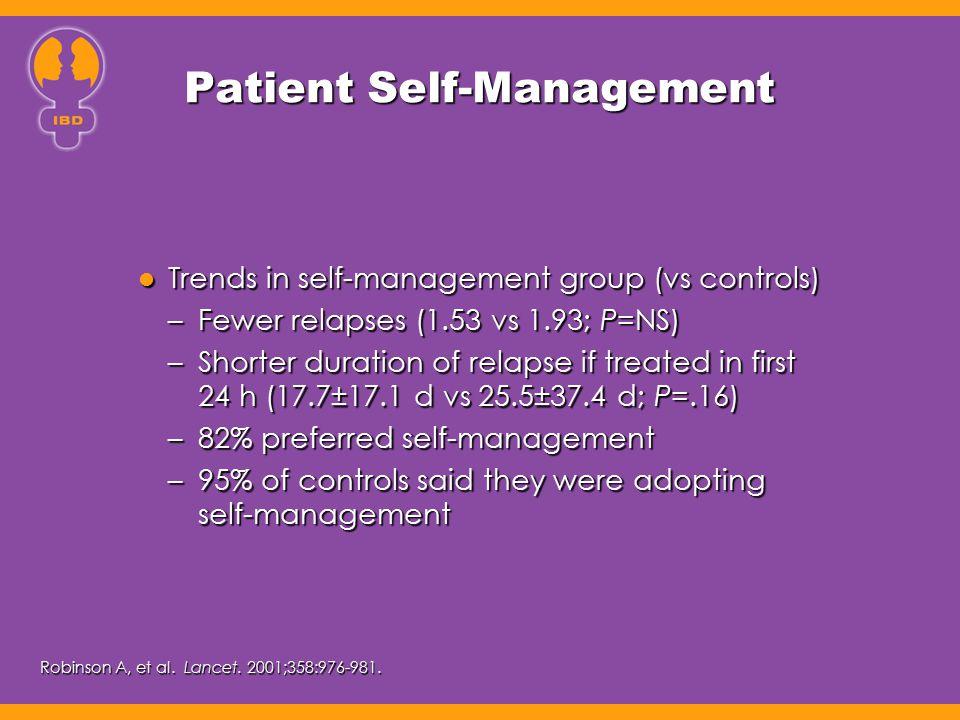 Patient Self-Management Trends in self-management group (vs controls) Trends in self-management group (vs controls) –Fewer relapses (1.53 vs 1.93; P=N