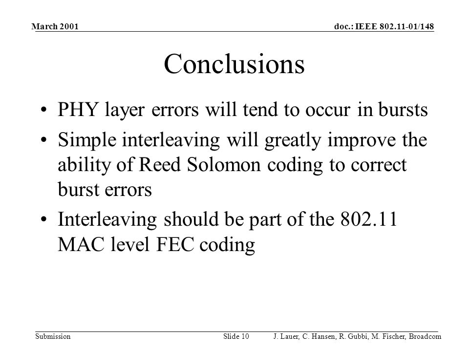 doc.: IEEE 802.11-01/148 Submission March 2001 J. Lauer, C.