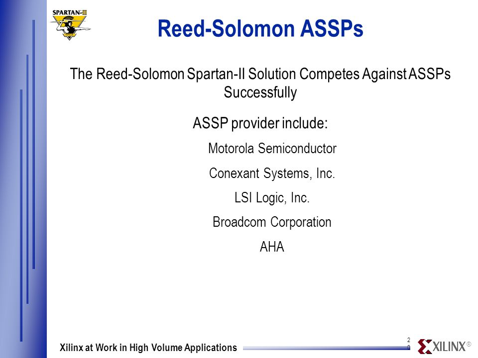 ® 2020 Xilinx at Work in High Volume Applications Reed-Solomon ASSPs The Reed-Solomon Spartan-II Solution Competes Against ASSPs Successfully ASSP provider include: Motorola Semiconductor Conexant Systems, Inc.