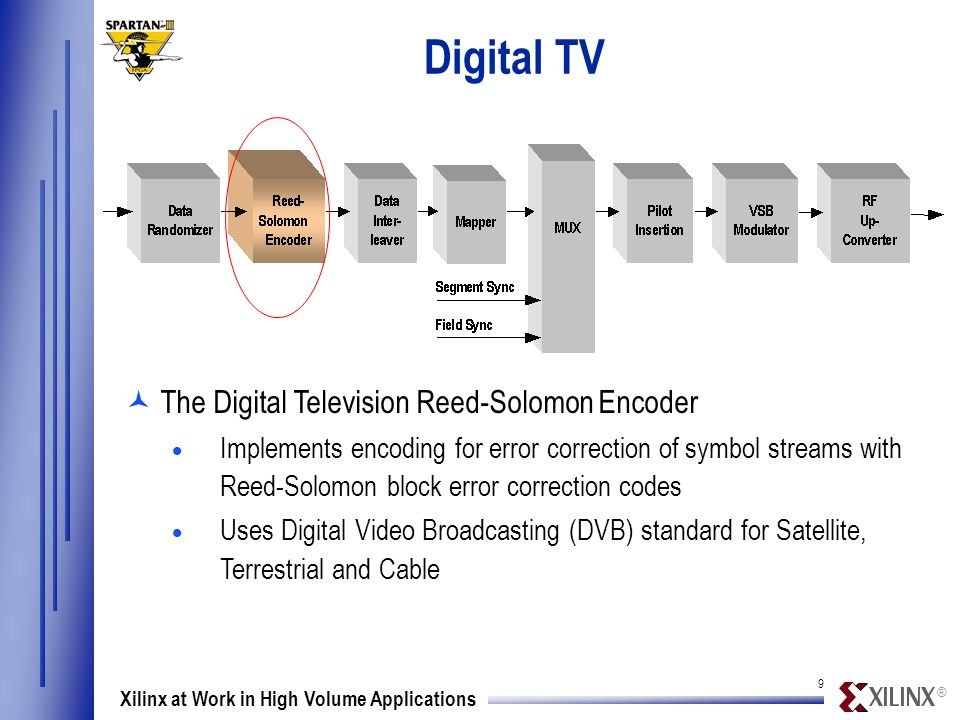 ® 9 Xilinx at Work in High Volume Applications Digital TV ©The Digital Television Reed-Solomon Encoder  Implements encoding for error correction of symbol streams with Reed-Solomon block error correction codes  Uses Digital Video Broadcasting (DVB) standard for Satellite, Terrestrial and Cable