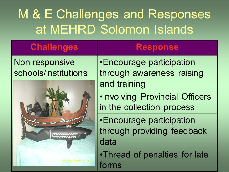 M & E Challenges and Responses at MEHRD Solomon Islands ChallengesResponse Non responsive schools/institutions Encourage participation through awarene
