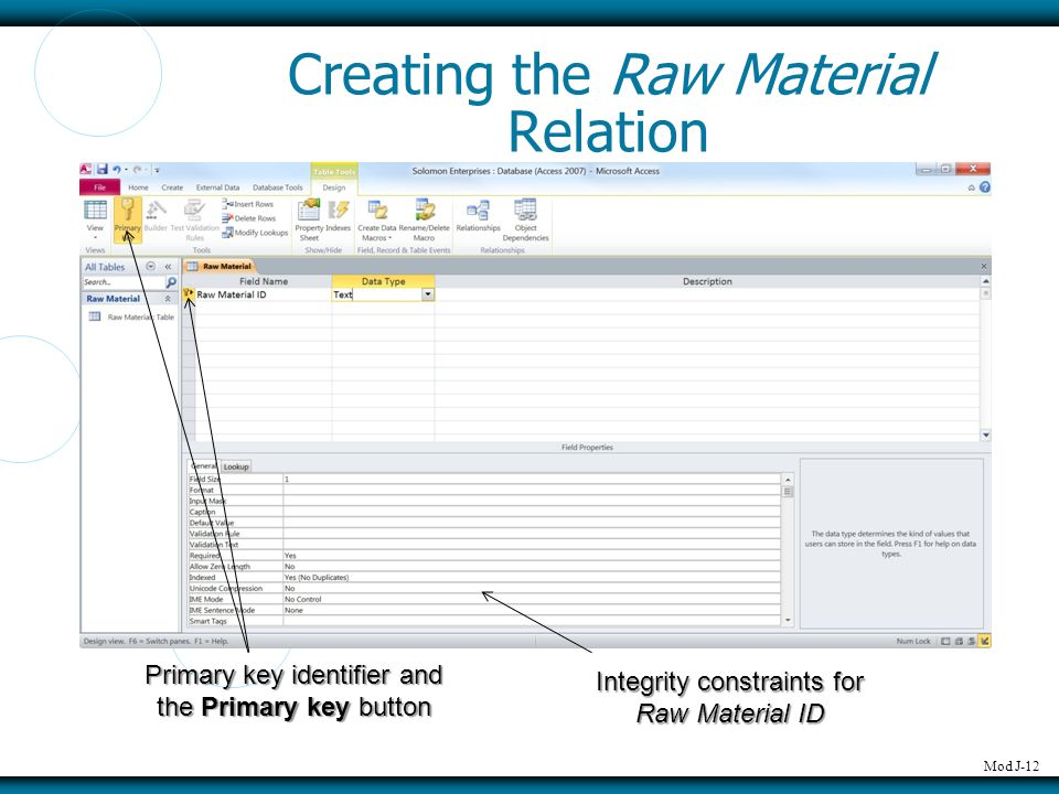 Mod J-12 Creating the Raw Material Relation Primary key identifier and the Primary key button Integrity constraints for Raw Material ID