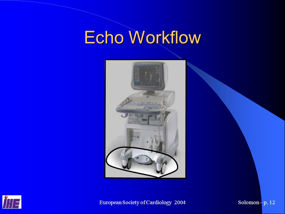 European Society of Cardiology 2004Solomon – p. 12 Echo Workflow