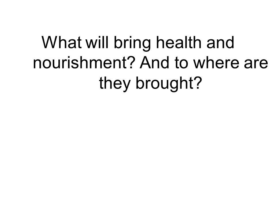 What will bring health and nourishment? And to where are they brought?