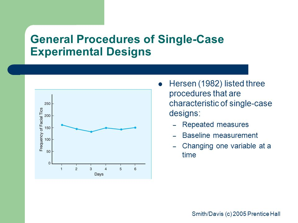Smith/Davis (c) 2005 Prentice Hall General Procedures of Single-Case Experimental Designs Hersen (1982) listed three procedures that are characteristic of single-case designs: – Repeated measures – Baseline measurement – Changing one variable at a time