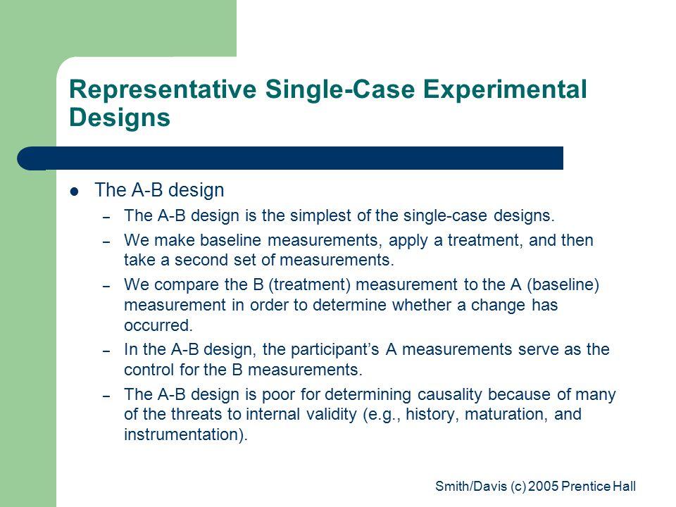 Smith/Davis (c) 2005 Prentice Hall Representative Single-Case Experimental Designs The A-B design – The A-B design is the simplest of the single-case designs.