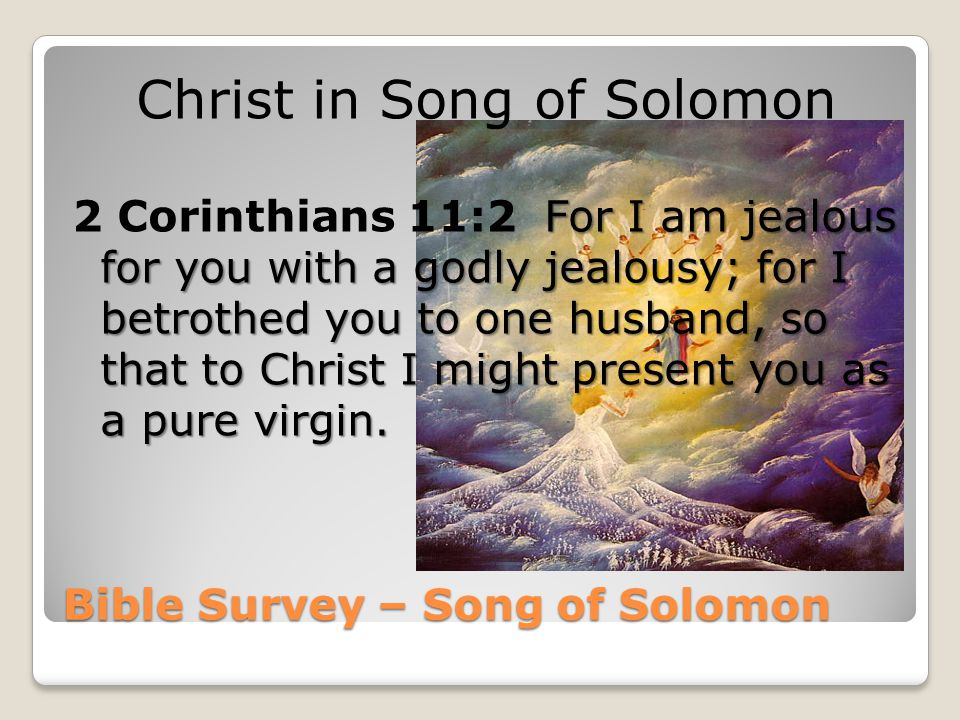 Bible Survey – Song of Solomon Christ in Song of Solomon For I am jealous for you with a godly jealousy; for I betrothed you to one husband, so that t