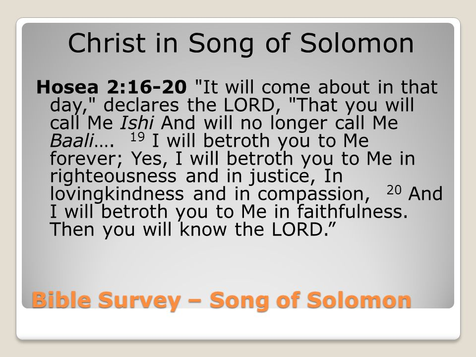 Bible Survey – Song of Solomon Christ in Song of Solomon Hosea 2:16-20