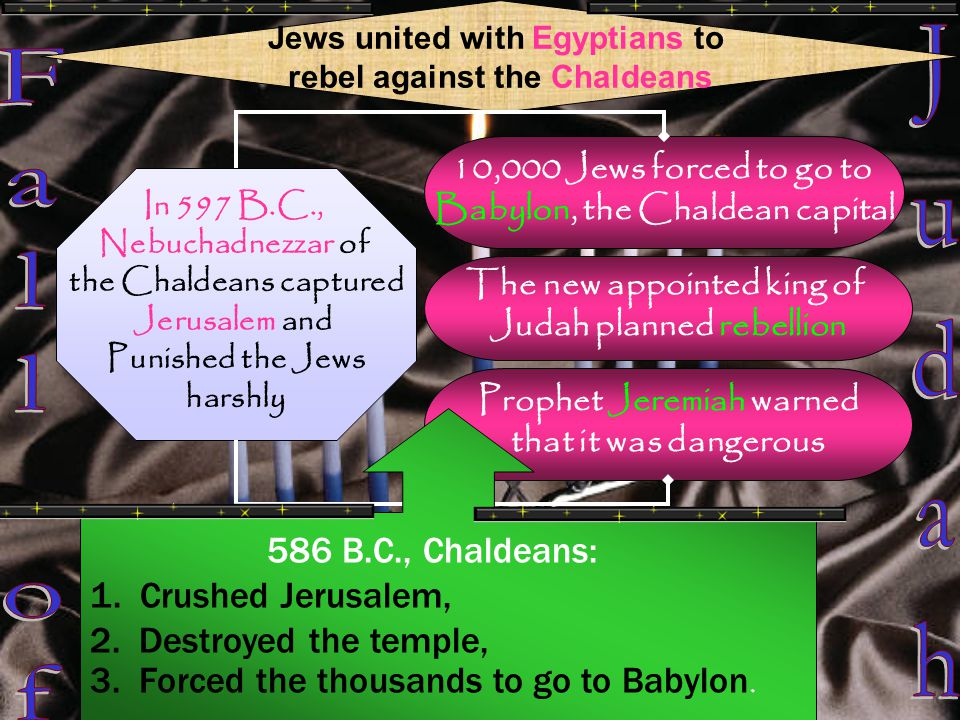 Jews united with Egyptians to rebel against the Chaldeans In 597 B.C., Nebuchadnezzar of the Chaldeans captured Jerusalem and Punished the Jews harshly 10,000 Jews forced to go to Babylon, the Chaldean capital The new appointed king of Judah planned rebellion Prophet Jeremiah warned that it was dangerous 586 B.C., Chaldeans: 1.
