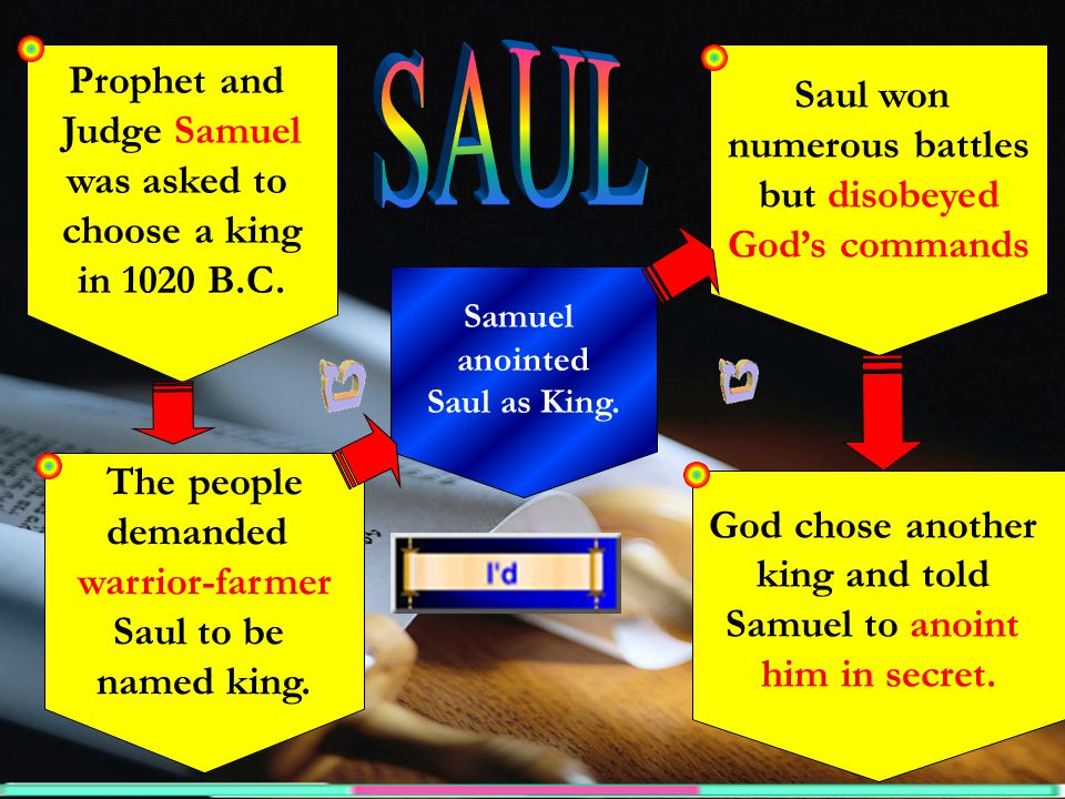 Prophet and Judge Samuel was asked to choose a king in 1020 B.C. Saul won numerous battles but disobeyed God's commands The people demanded warrior-fa
