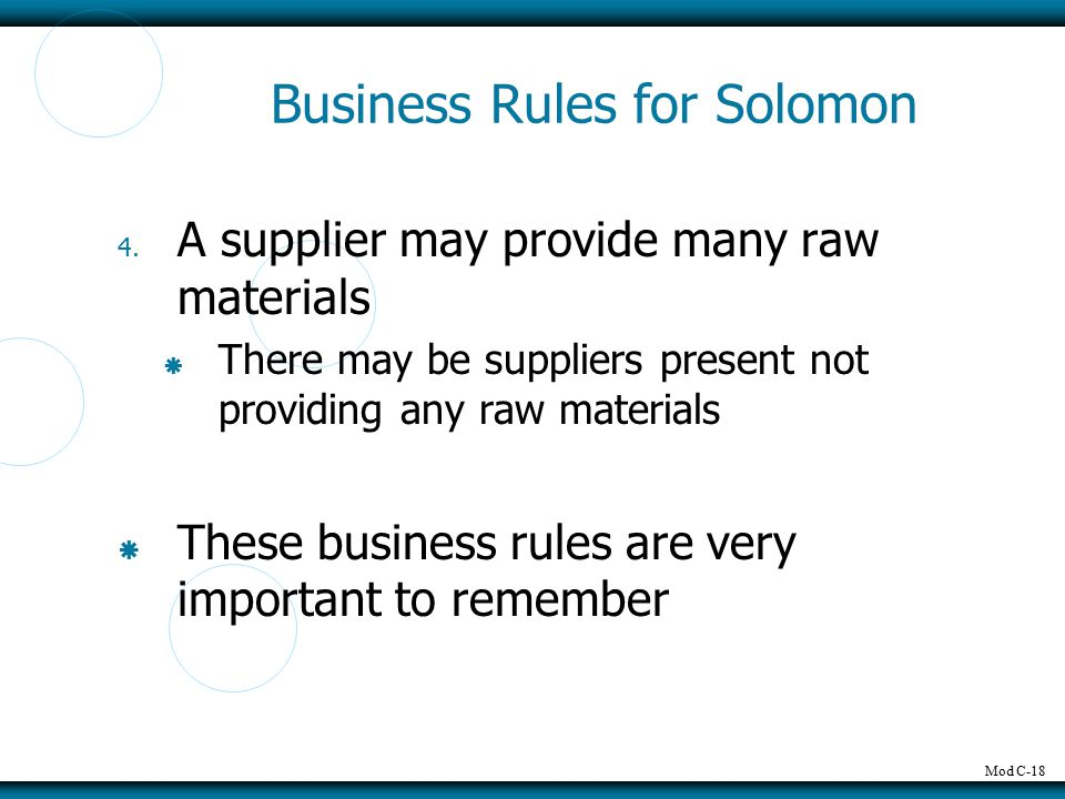 Mod C-18 Business Rules for Solomon 4. A supplier may provide many raw materials  There may be suppliers present not providing any raw materials  Th