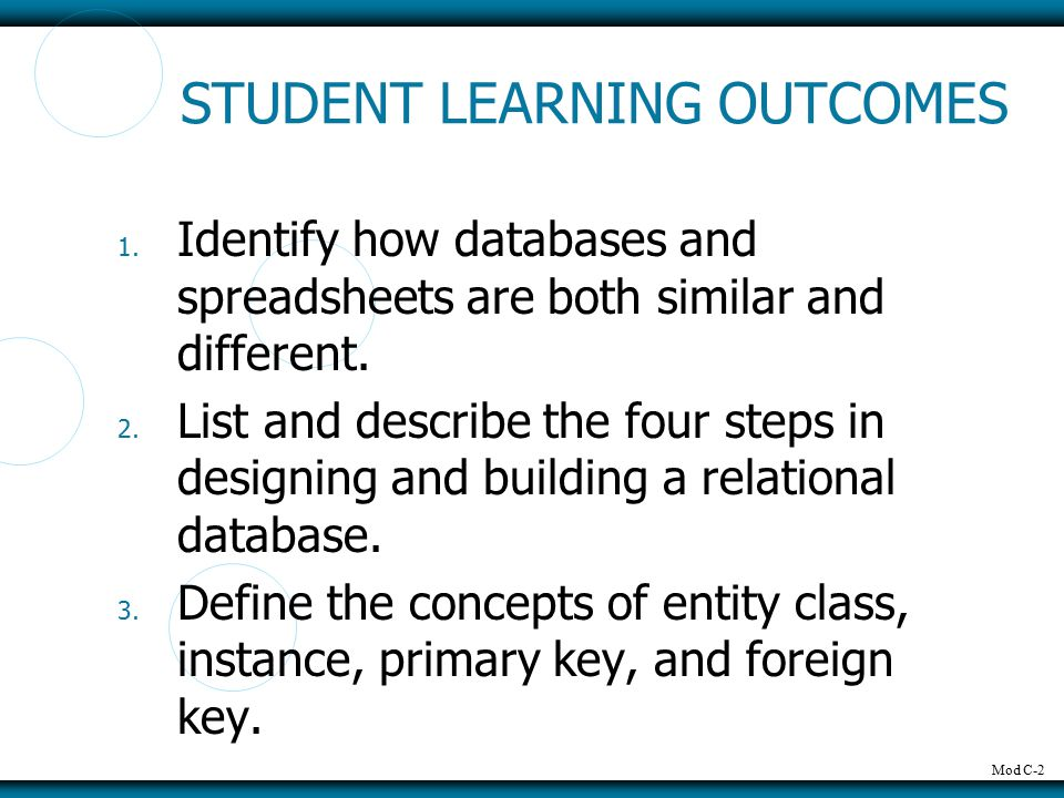 Mod C-2 STUDENT LEARNING OUTCOMES 1. Identify how databases and spreadsheets are both similar and different. 2. List and describe the four steps in de