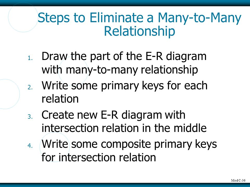 Mod C-36 Steps to Eliminate a Many-to-Many Relationship 1. Draw the part of the E-R diagram with many-to-many relationship 2. Write some primary keys
