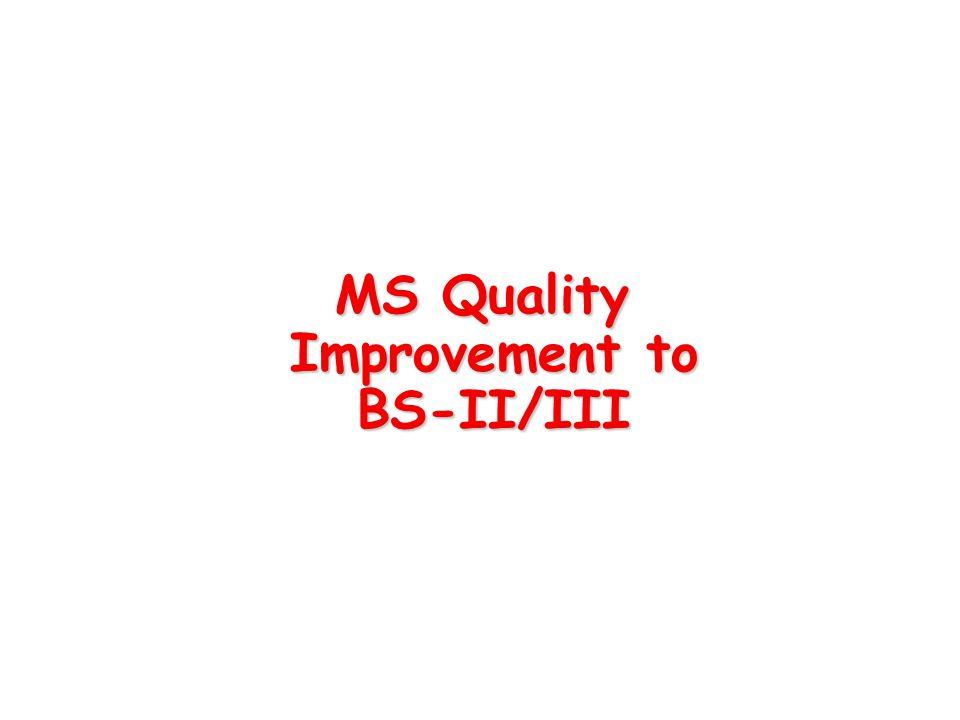 MS Quality Improvement to BS-II/III