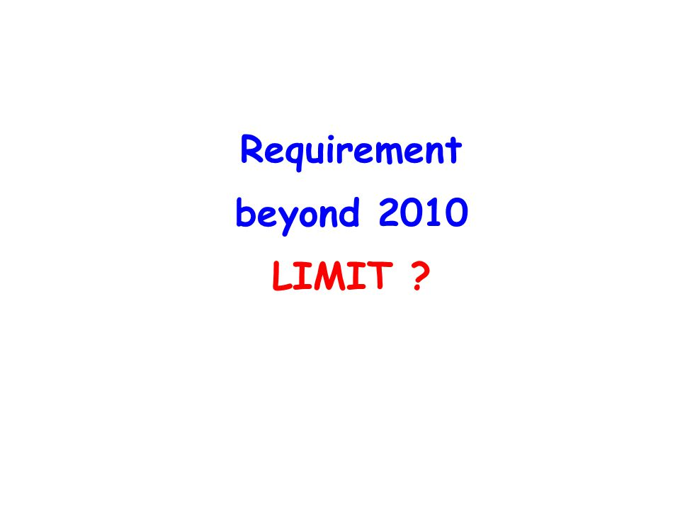 Requirement beyond 2010 LIMIT ?