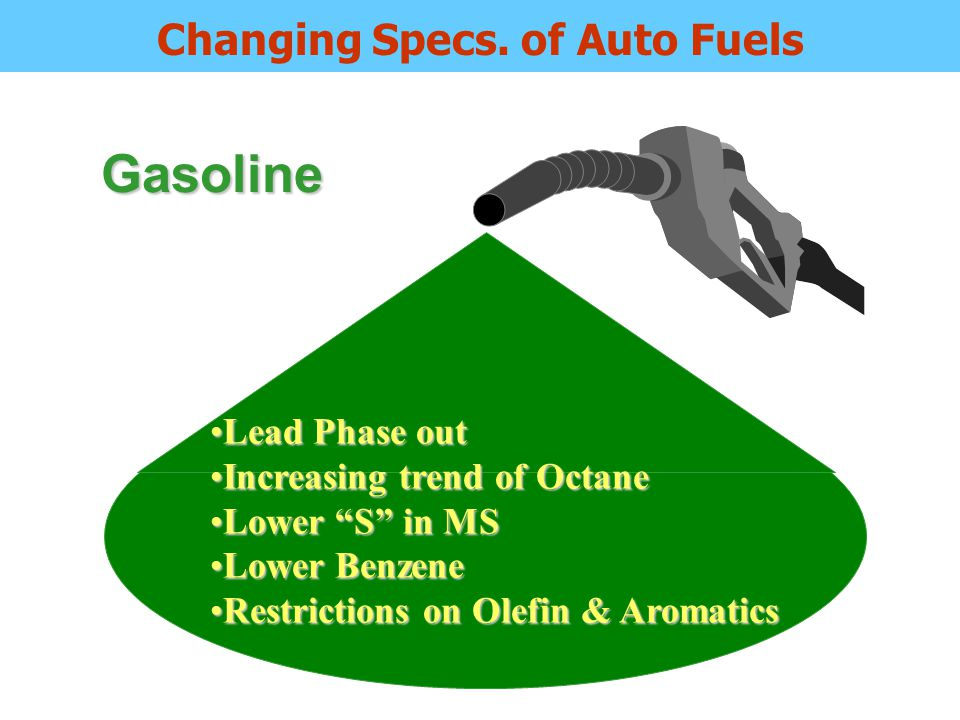 Increasing trend of CetaneIncreasing trend of Cetane Diesel getting lighterDiesel getting lighter Lower S requirementLower S requirement Restrictions on PolyaromaticsRestrictions on Polyaromatics HSD Changing Specs of Auto Fuels