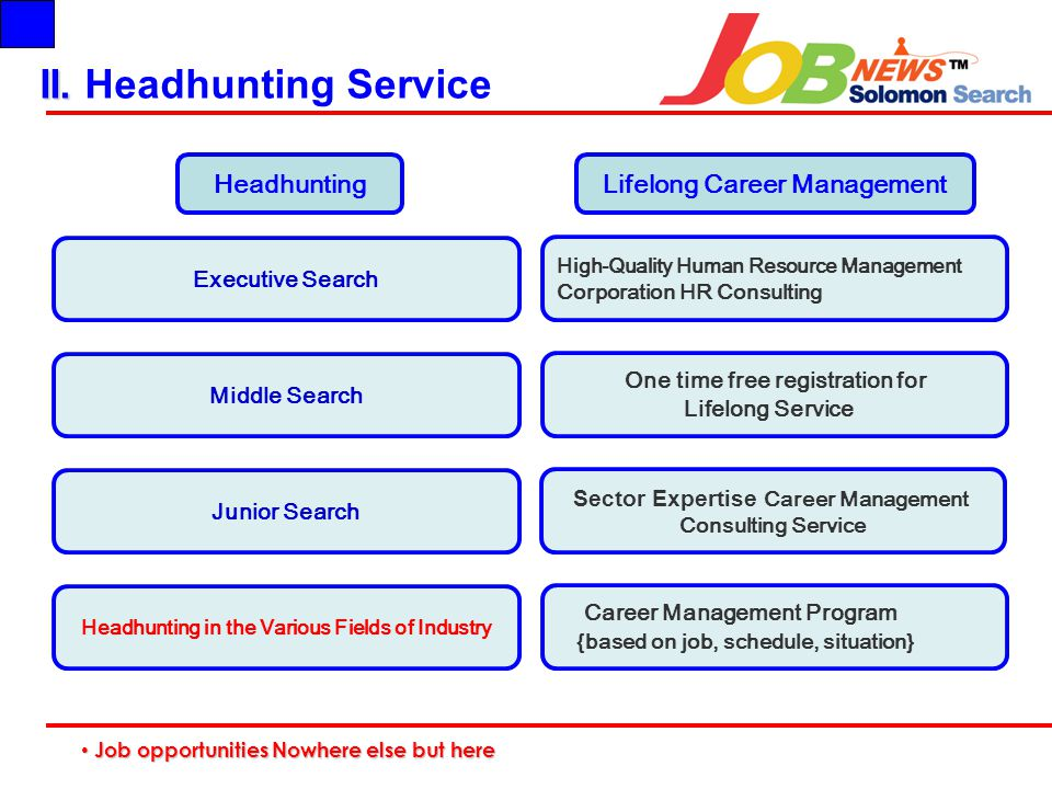 II. II. Headhunting Service Executive Search High-Quality Human Resource Management Corporation HR Consulting HeadhuntingLifelong Career Management Mi