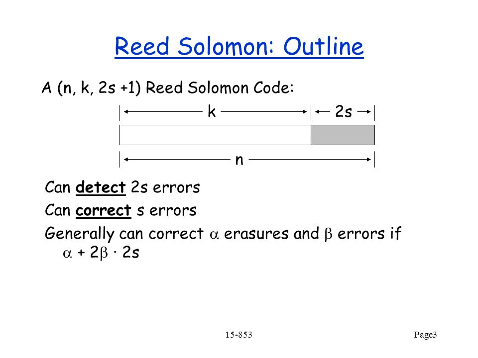 15-853Page3 Reed Solomon: Outline A (n, k, 2s +1) Reed Solomon Code: k2s Can detect 2s errors Can correct s errors Generally can correct  erasures and  errors if  + 2  · 2s n