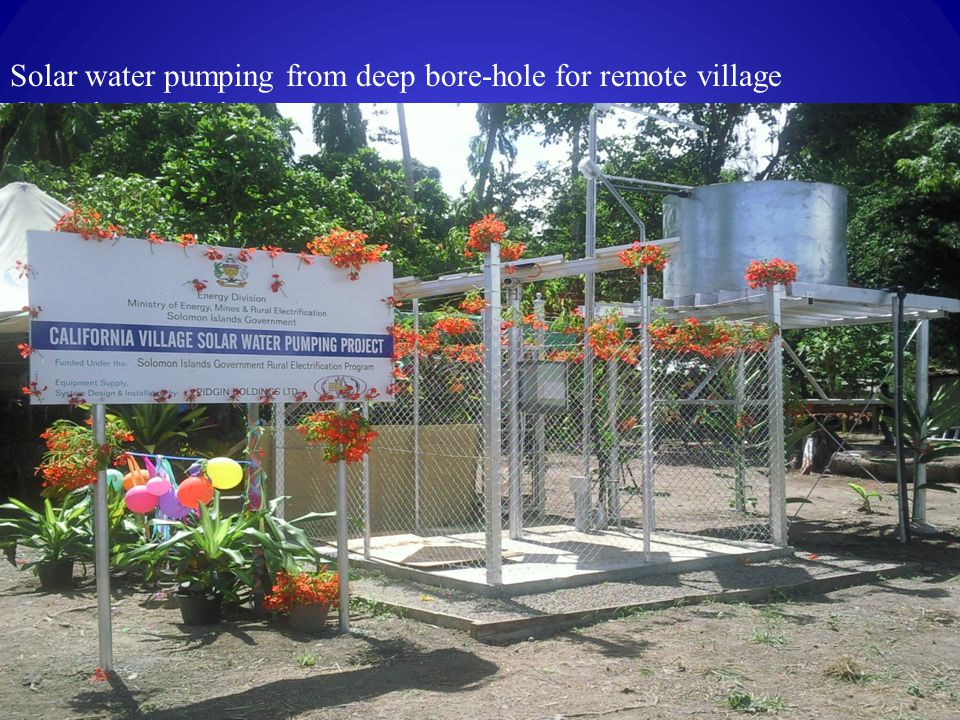 Solar water pumping from deep bore-hole for remote village Guadalcanal Plains