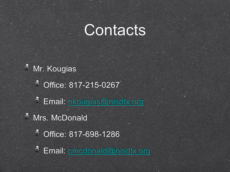Contacts Mr. Kougias Office: 817-215-0267 Email: nkougias@nisdtx.orgnkougias@nisdtx.org Mrs.