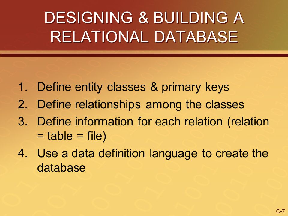 C-28 Normalization Normalization – process of assuring that a relational database structure can be implemented as a series of two-dimensional tables We will follow three rules of normalization