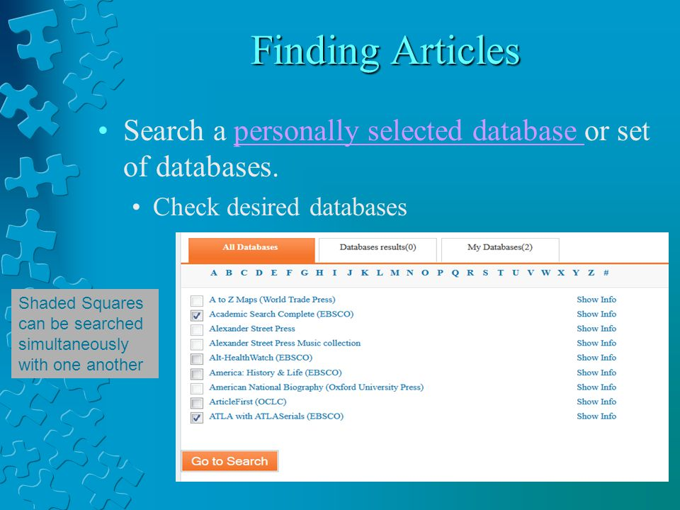 Finding Articles Search a personally selected database or set of databases.personally selected database Check desired databases Shaded Squares can be searched simultaneously with one another