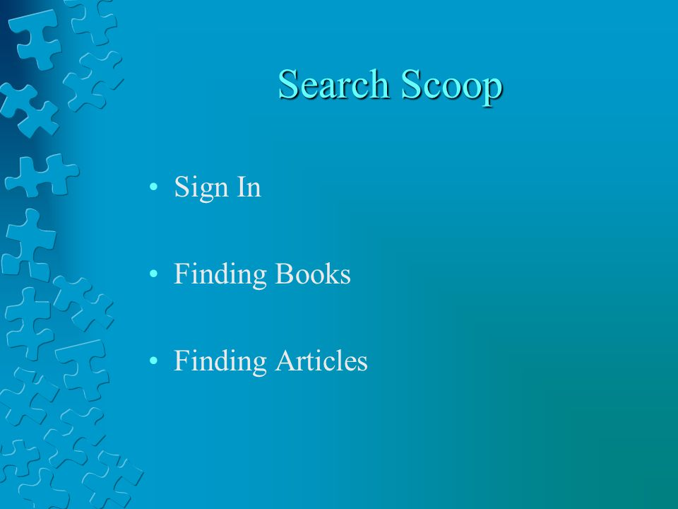 Finding Articles Search Databases Select Category (i.e.
