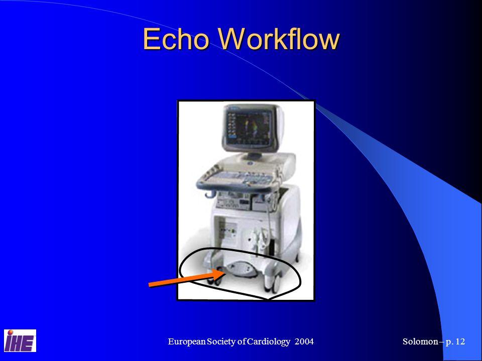 European Society of Cardiology 2004Solomon – p. 12 Echo Workflow